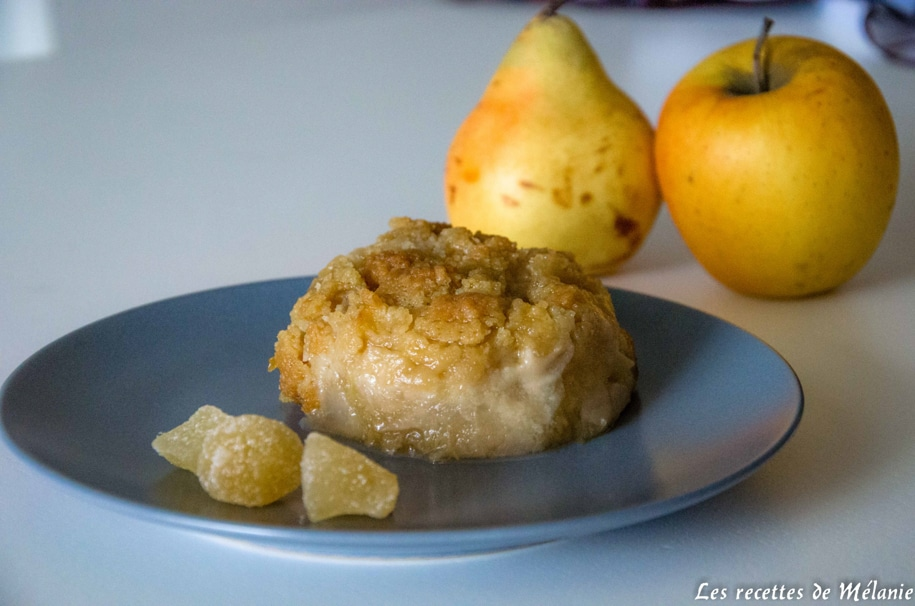 Crumble pommes poires et gingembre