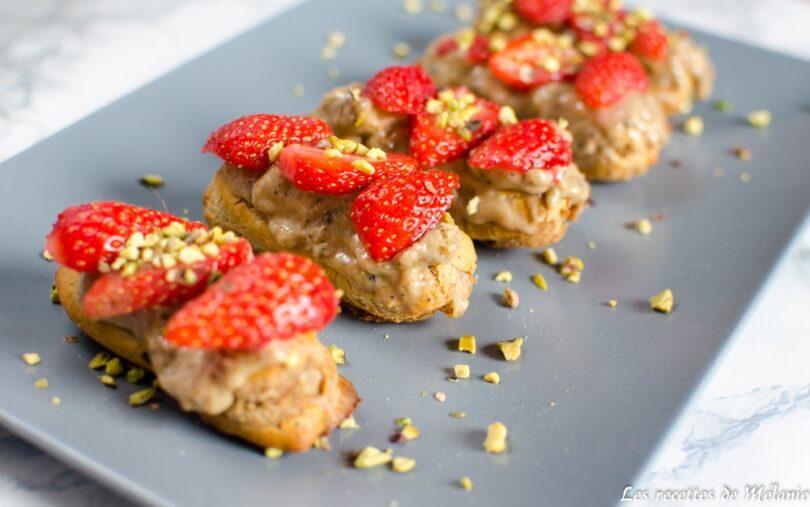 Éclair pistache et fraise