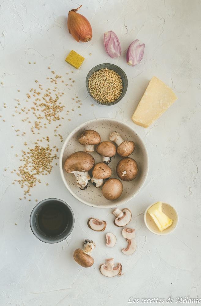 Risotto de sarrasin aux champignons - Les recettes de Mélanie