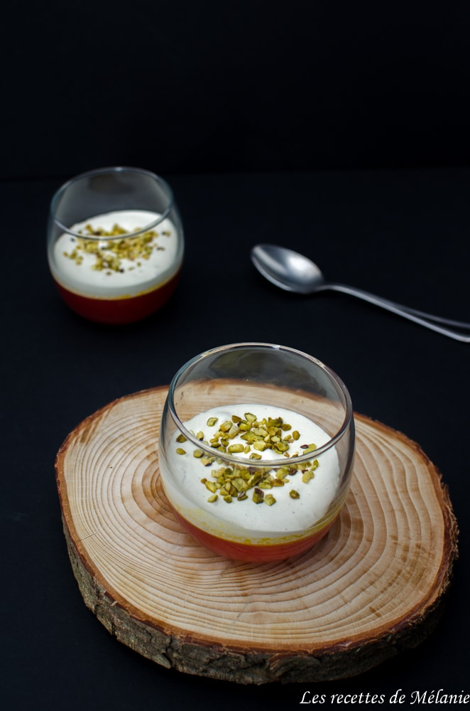 Verrines à l'orange sanguine et crème de pistaches