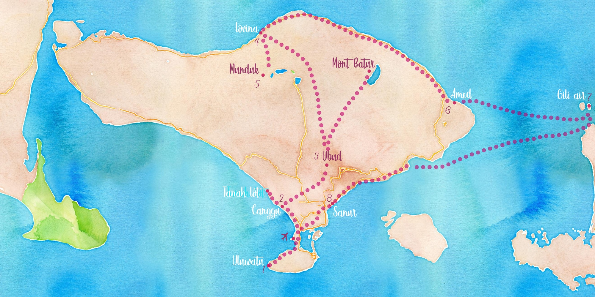 Carte itinéraire Bali