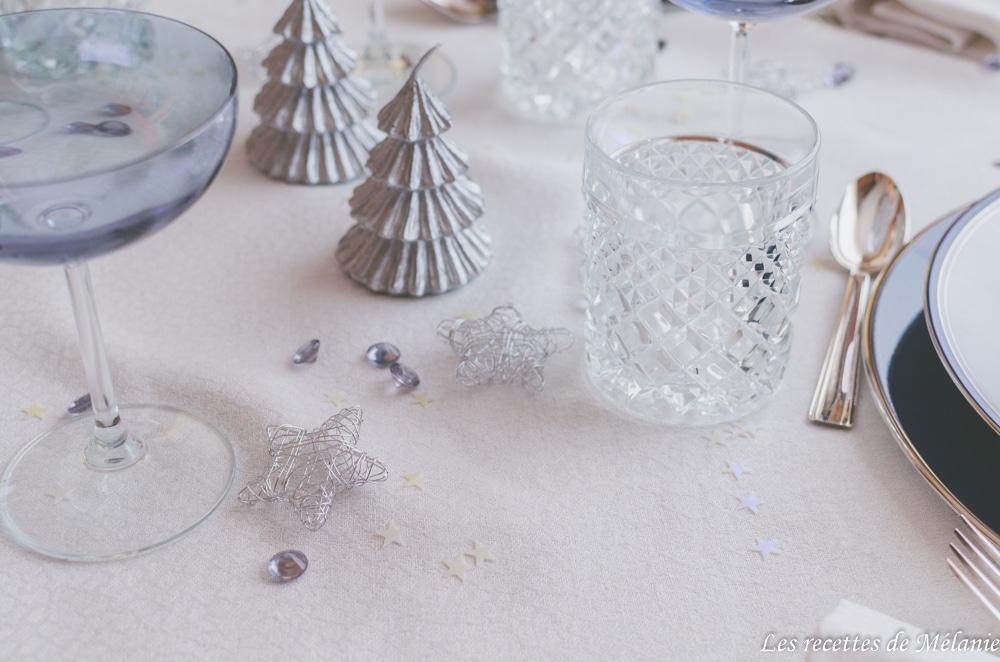 Décoration de table argentée
