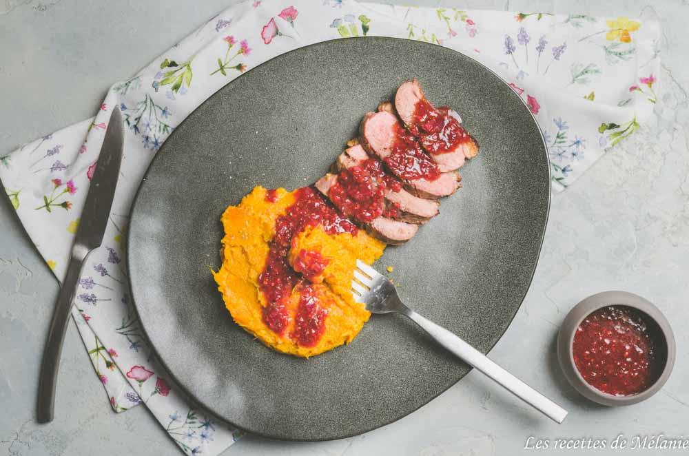 Idée de plat pour la Saint-Valentin: Magret de canard à la framboise et purée de patate douce