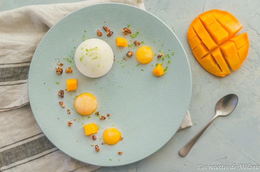 Dessert à l'assiette: Crème vanille, sablé et mangue