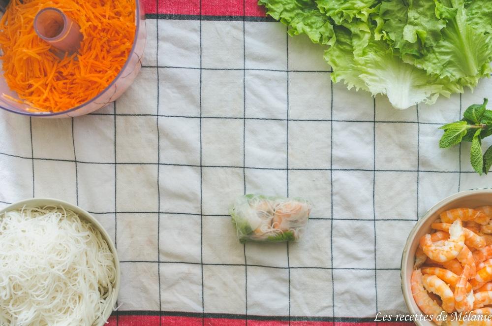 Rouleaux de printemps aux crevettes - sauce au beurre de cacahuètes