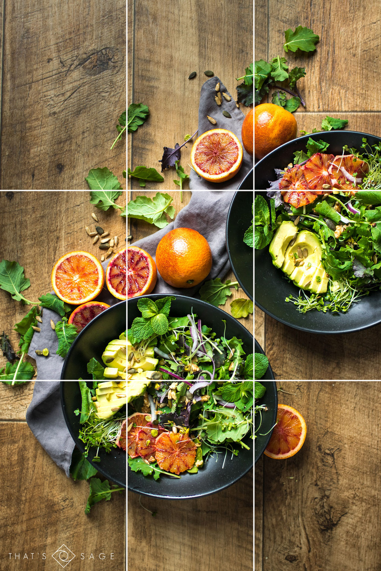 Photo culinaire: Avant/après d'une salade toute verte