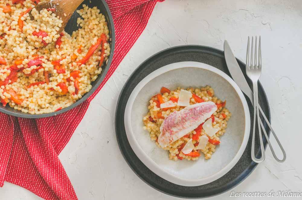 Risotto à la fregola, poivrons et filets de rouget avec Cristel