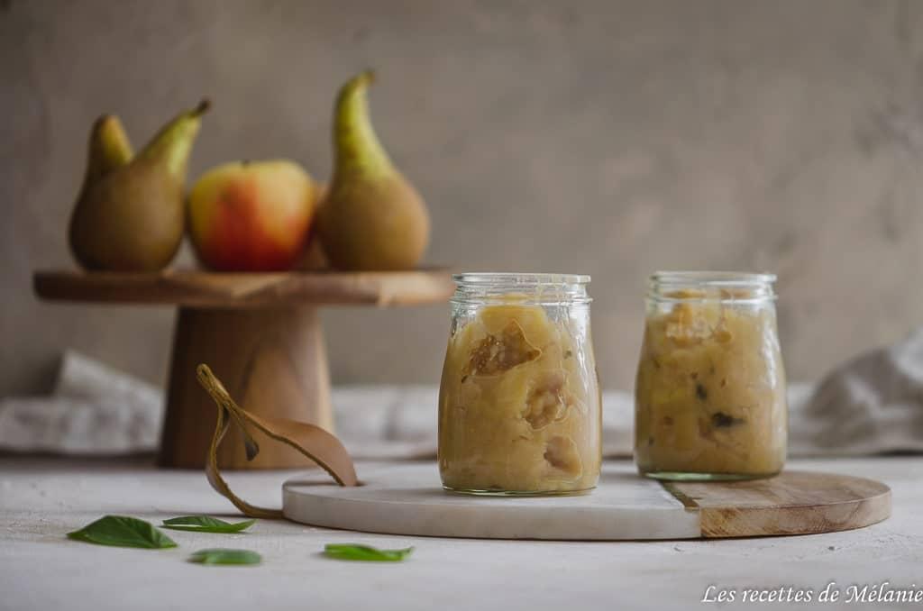 Compote pomme, poire et basilic cannelle