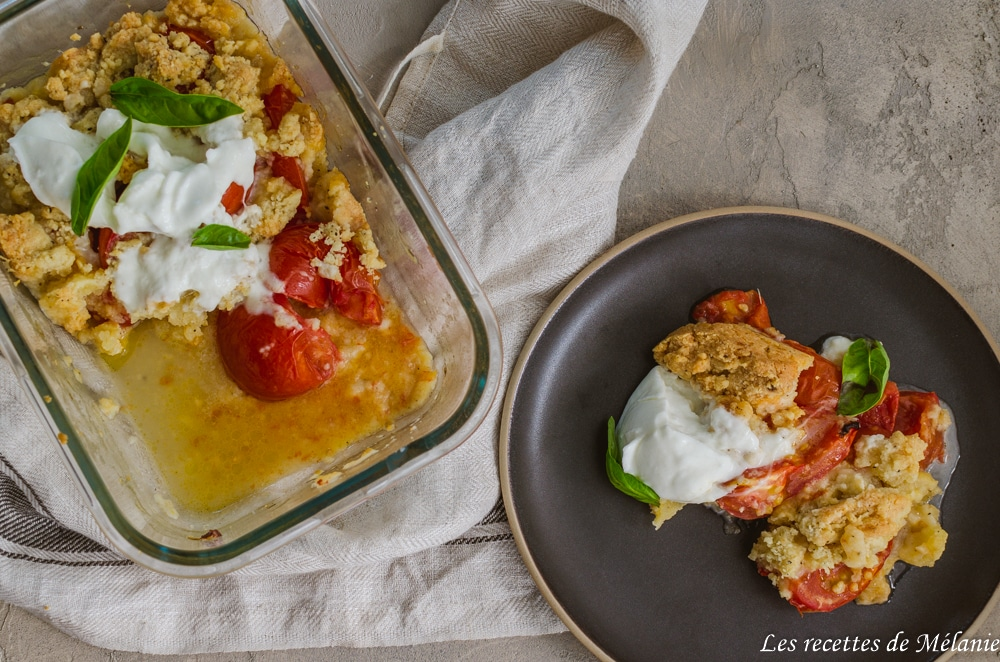 Crumble de tomates et mozzarella
