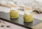 Crème de petits pois, ricotta et langoustines - Amuse-bouche de Noël