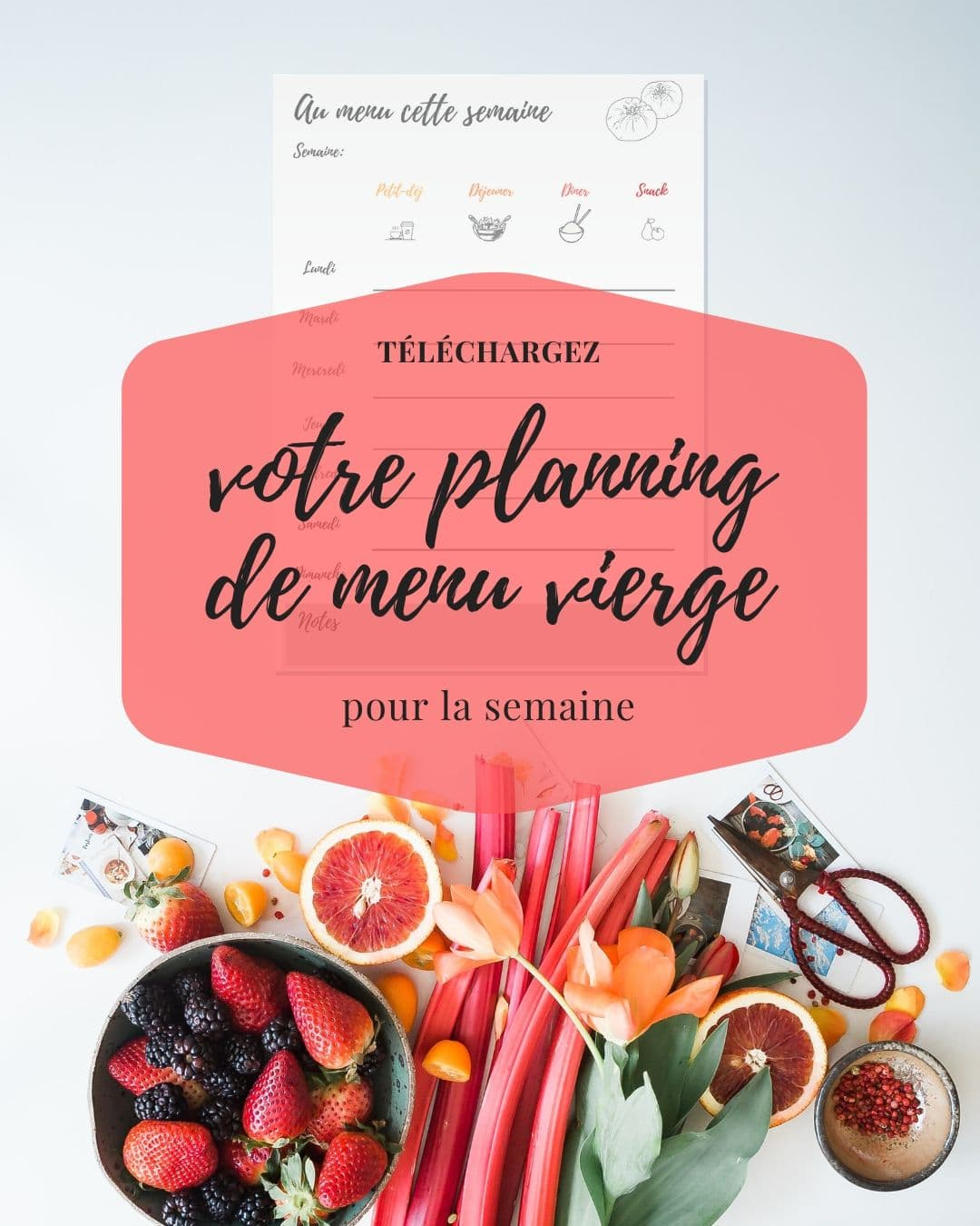 Votre planning de menu vierge gratuit - Les recettes de Mélanie