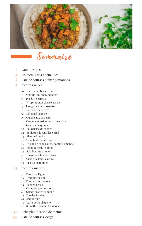 sommaire 2 semaines de menus avec recettes et liste de courses - Les recettes de Mélanie