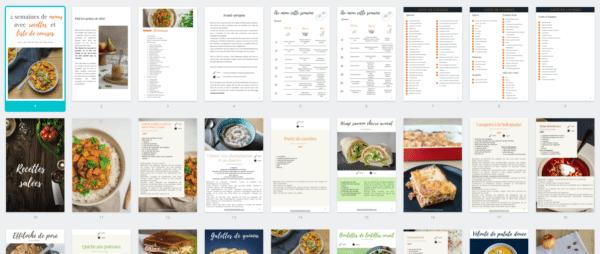 extrait 2 semaines de menus avec recettes et liste de courses - Les recettes de Mélanie