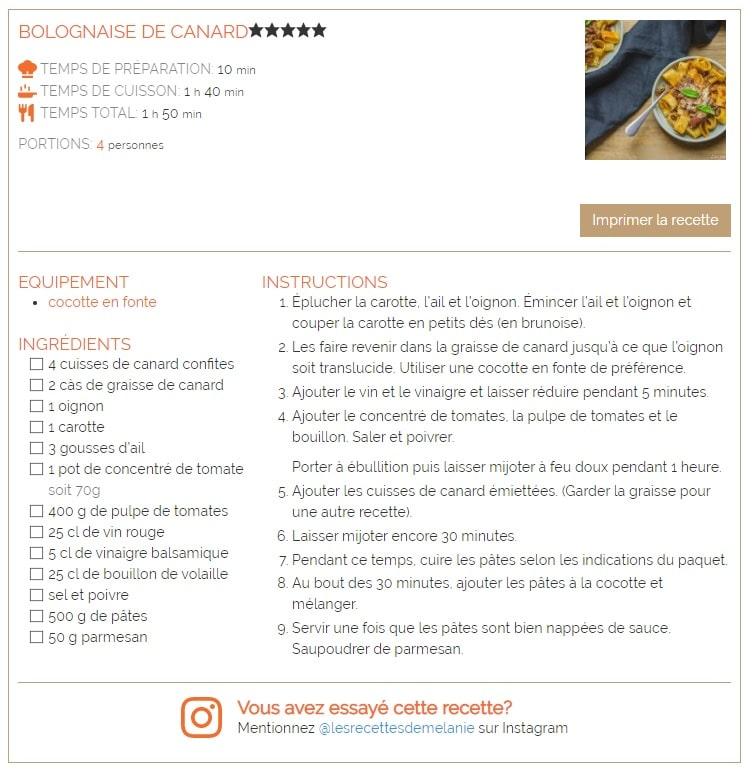 fiche recette wp recipe maker - les recettes de mélanie