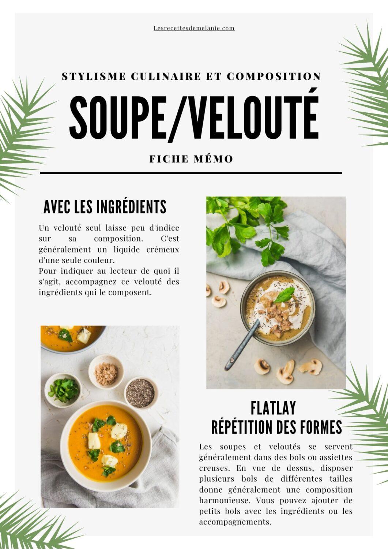 Stylisme culinaire d'une photo de soupe