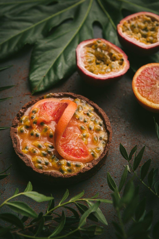 La version individuelle de ma recette de tarte à l'orange sanguine et fruits de la passion.