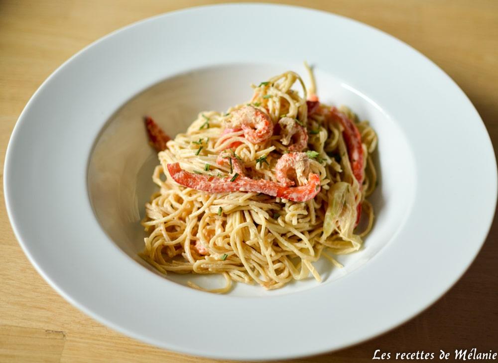 Spaghetti aux poivrons et écrevisses